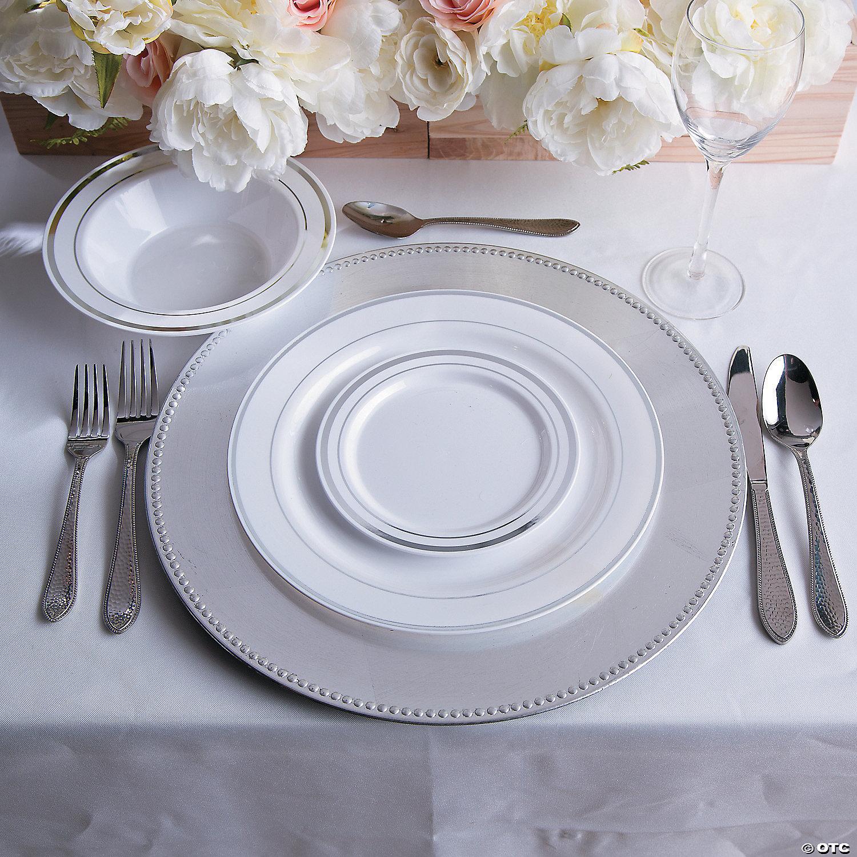 ... white-premium-plastic-dinner-plates-with-silver-trim & White Premium Plastic Dinner Plates with Silver Trim