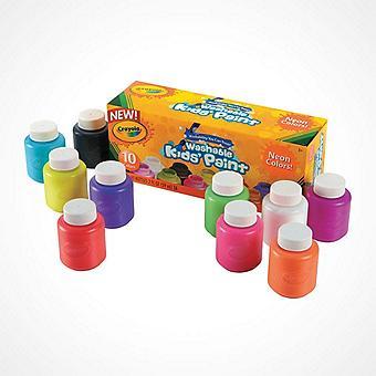 10-Color Crayola® Neon Colors Washable Kids? Paint