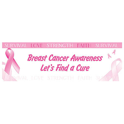 personalized medium breast cancer awareness vinyl banner - Breast Cancer Decorations