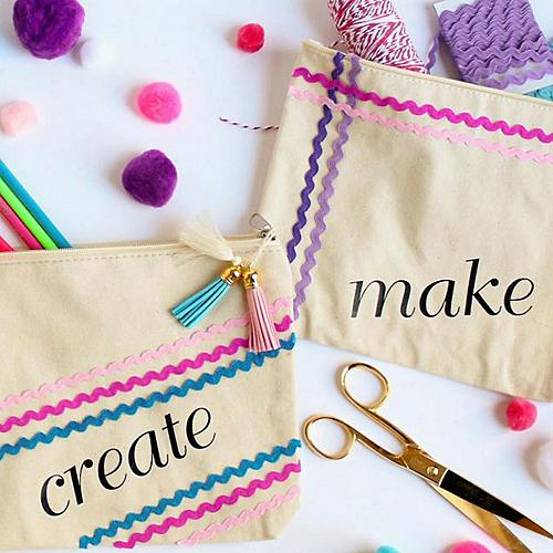 Rickrack Decorated Craft Supply Bags
