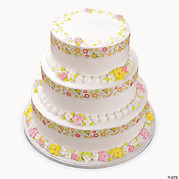 Whimsical garden shimmer ribbon edible image cake for K decorations trading