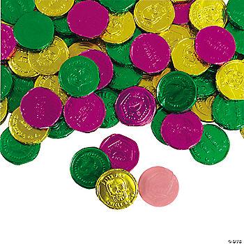 foilwrapped mardi gras bubble gum coins oriental