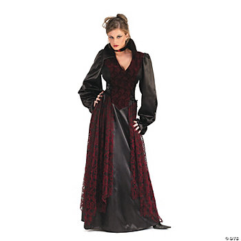Flocked Vampiress Adult Women's Costume