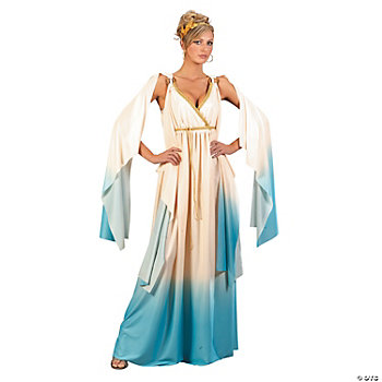 Blue and White Greek Goddess Adult Women's Costume