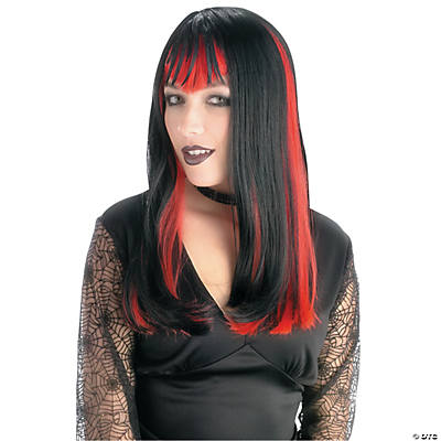 Black Widow Wig with Red