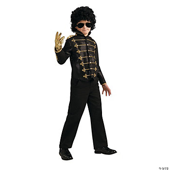 Michael Jackson Black Military Jacket Deluxe Boy's Costume