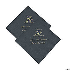 Personalized 50th Anniversary Beverage Napkins - Gold Print