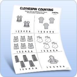 Clothespin Counting Activity Sheet