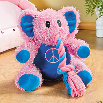 Plush Pink Elephant Squeaker Dog Toy