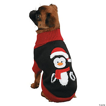 Zack & Zoey® Holiday Penguin Dog Sweater - Small
