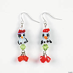 Penguin and Snowman Crystal Earrings Project