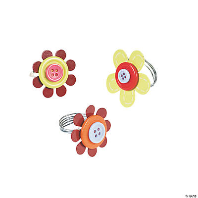 Flower Button Rings