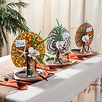 Safari animal print fans idea oriental trading for Animal print decoration party