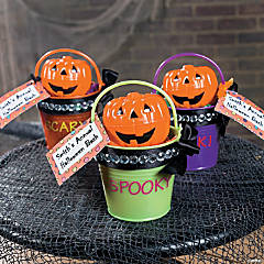 Bright Mini Pails with Ribbon