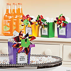 Birthday Celebration Pinwheel Popcorn Boxes Idea