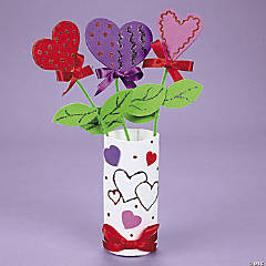 Heart Foam Flowers in Vase Idea