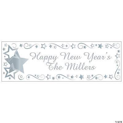 Personalized Silver Star Banner - Medium