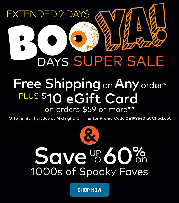 Extended 2 Days! Boo-Ya Days Super Sale - Save up to 60% on Halloween