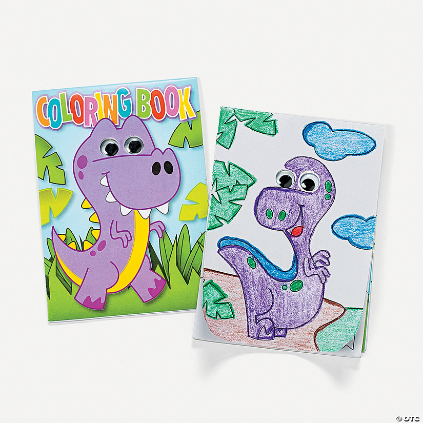 Dinosaur Coloring Books with Wiggle Eyes - Discontinued