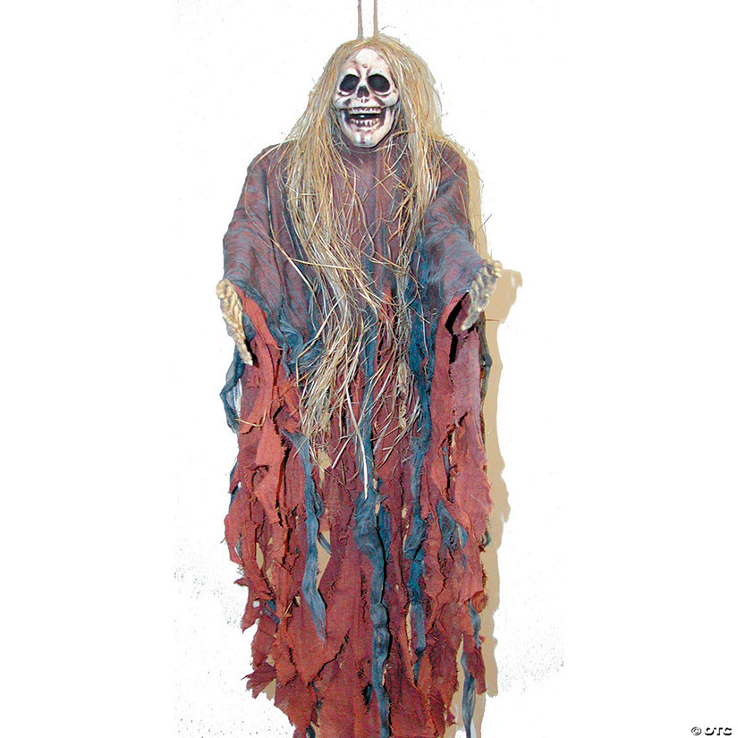 Tattered Ghoul With Hair Halloween Decoration