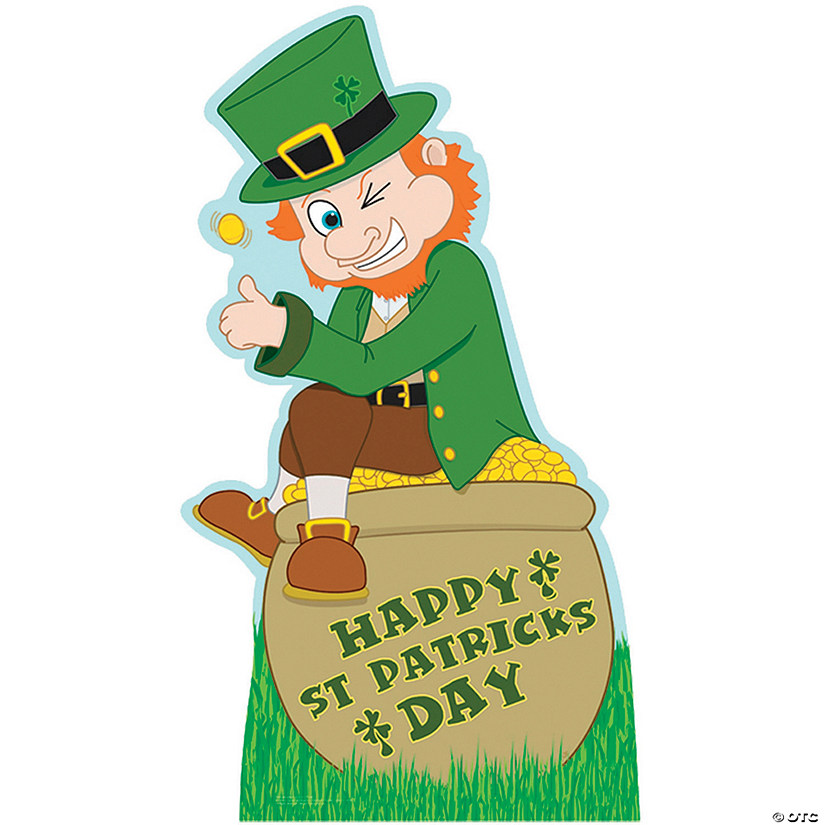 leprechaun with pot of gold cardboard stand up
