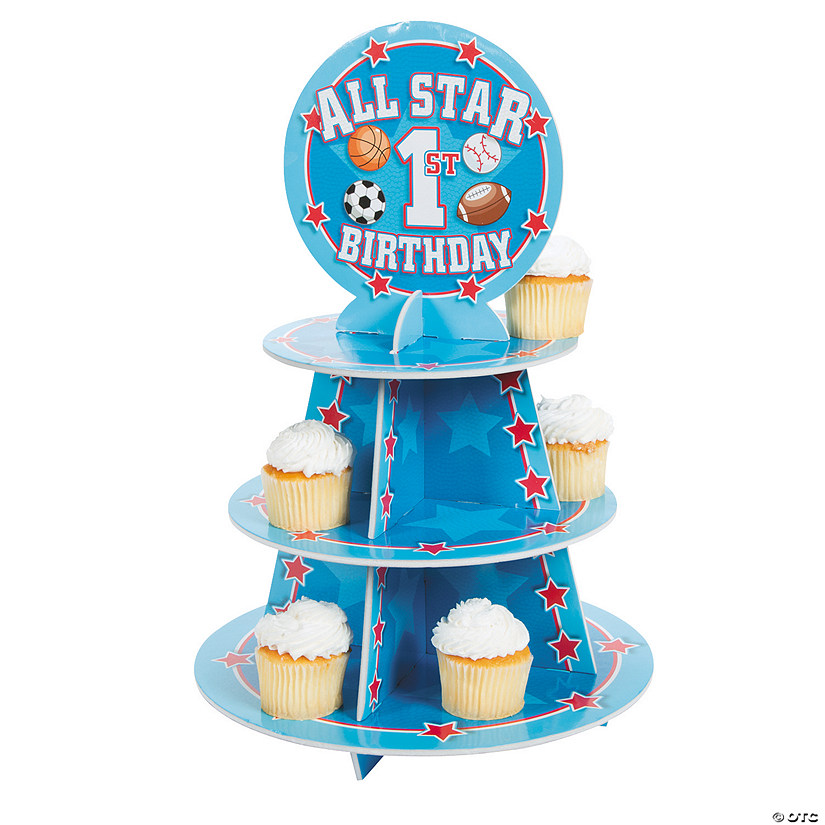 Enjoyable 1St Birthday All Star Cupcake Stand Oriental Trading Funny Birthday Cards Online Bapapcheapnameinfo
