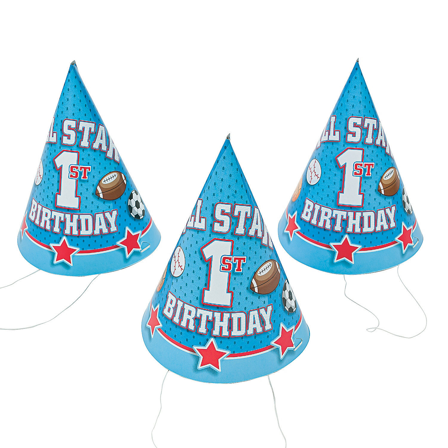 Details About IN 13598755 1st Birthday All Star Cone Hats Per Dozen