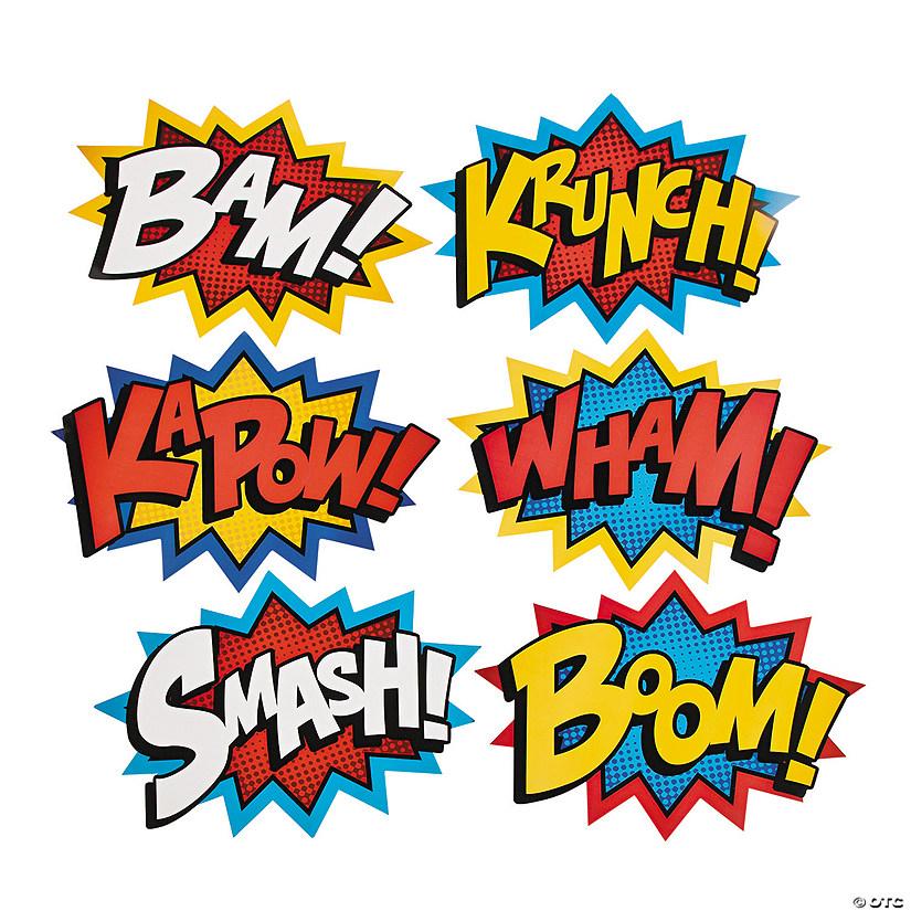 Free Comic Book Day History: Jumbo Superhero Word Cutouts