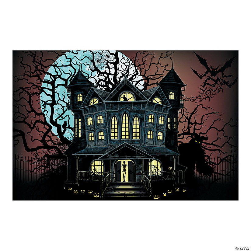 haunted house halloween backdrop