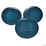 18 Navy Blue Hanging Paper Lanterns
