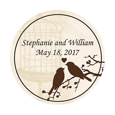 Personalized Love Birds Wedding Favor Stickers