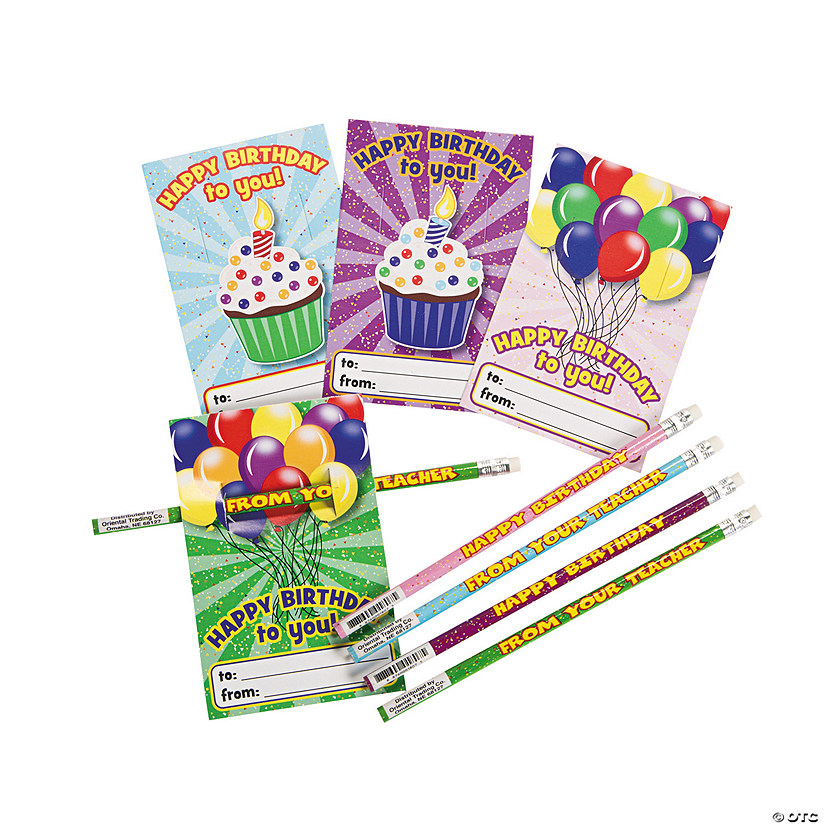 Happy Birthday Cards with Pencils | Oriental Trading