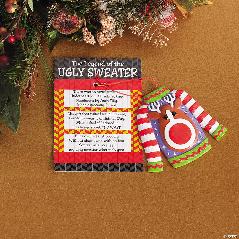 The Legend of the Ugly Sweater Christmas Ornaments with Card | Oriental Trading