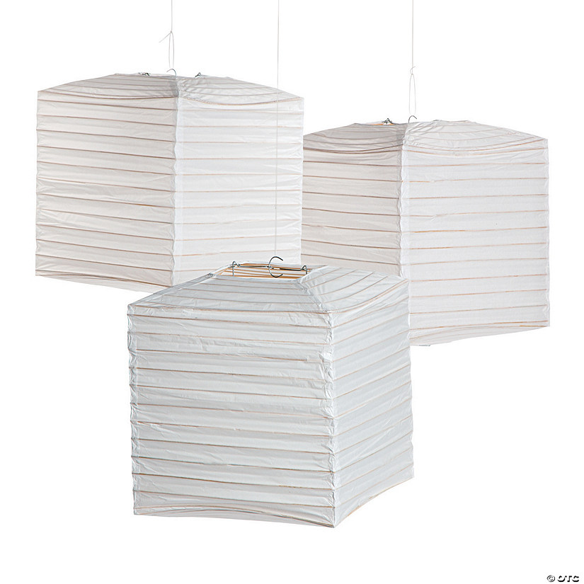 White Square Hanging Paper Lanterns - Discontinued