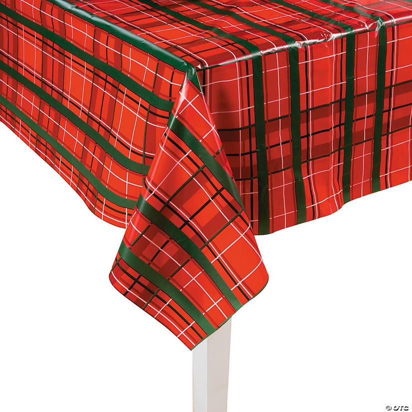 plaid christmas plastic tablecloth roll - Christmas Plaid