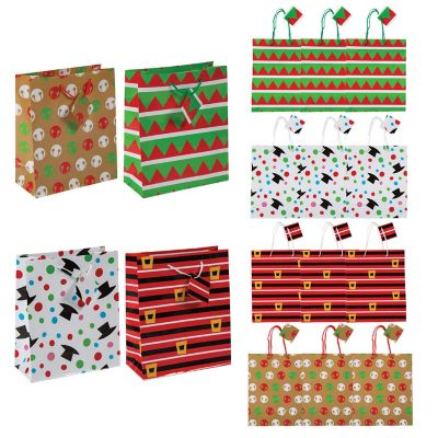 Quickview  C B Image Of Medium Cheery Christmas Gift Bags With Tags With Sku