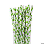Lime Green Polka Dot Paper Straws