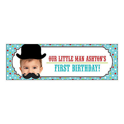 Top Hat & Mustache Lil Man Party Photo Custom Banner - Medium