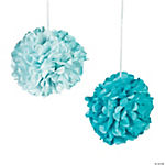 Sea Glass Tissue Paper Pom-Pom Decorations with Grommet