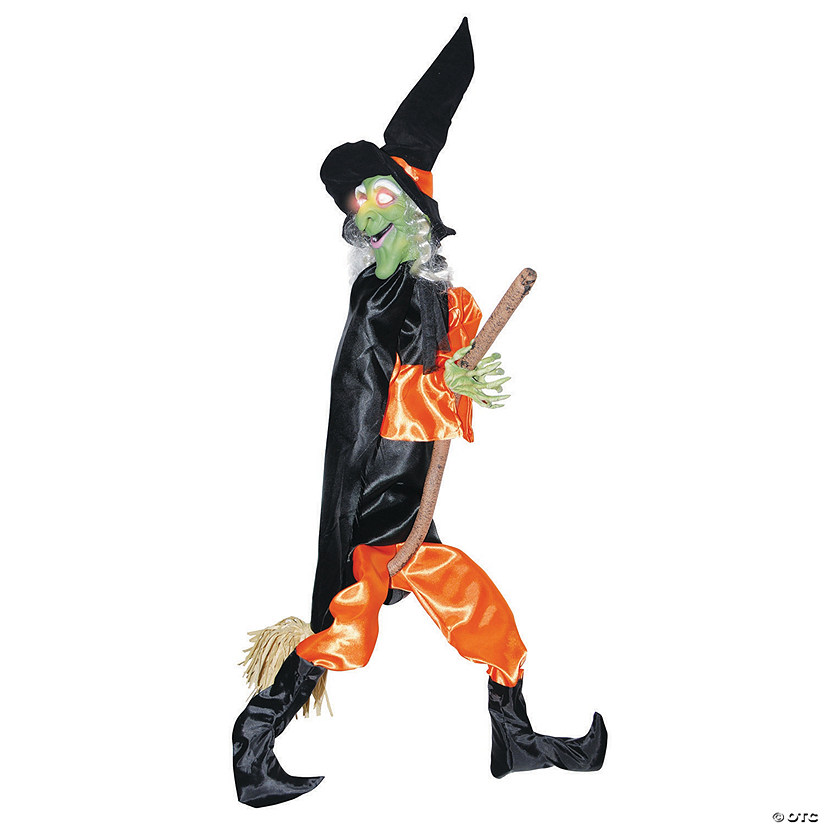 Leg Kicking Witch With Broom Halloween Decoration
