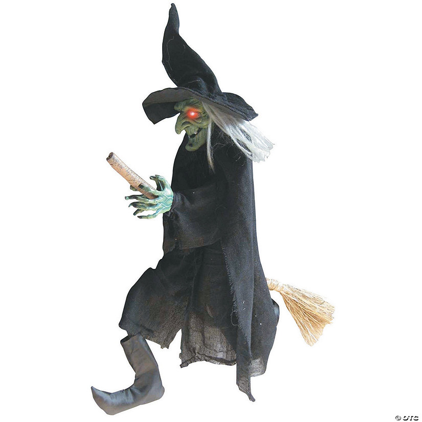 Hanging Witch On A Broom Halloween Decoration