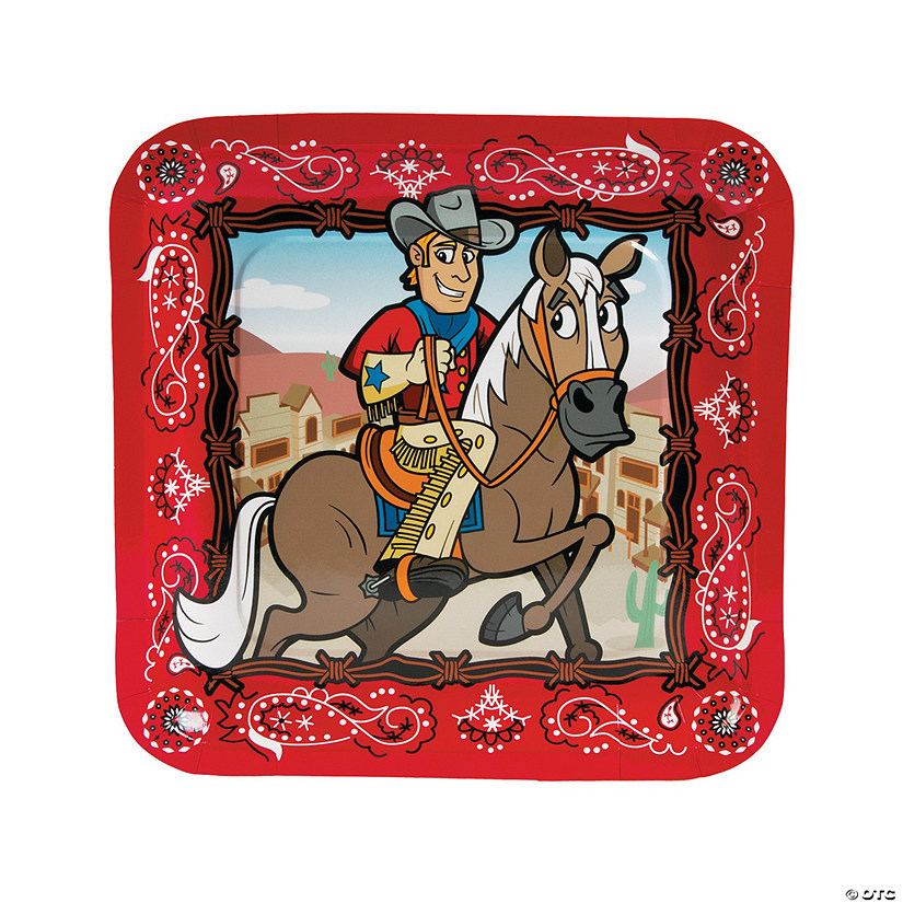 Western Party Paper Dinner Plates - 8 Ct. | Oriental Trading