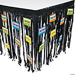 80s Party Fringe Plastic Table Skirt with Cutouts