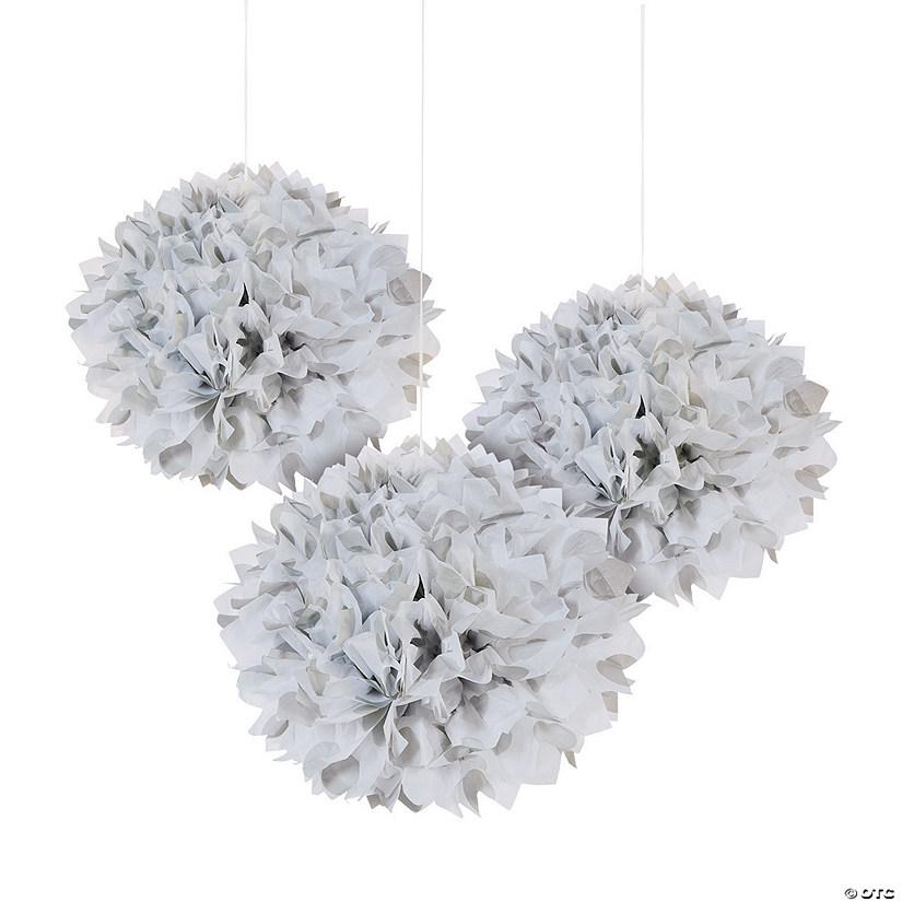 Silver polka dot tissue pom pom decorations with grommet mightylinksfo
