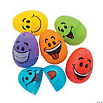Goofy Smile Face Plastic Easter Eggs - 72 Pc.