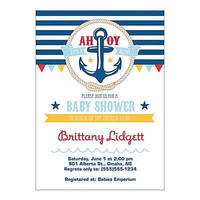 Personalized Nautical Baby Shower Invitations