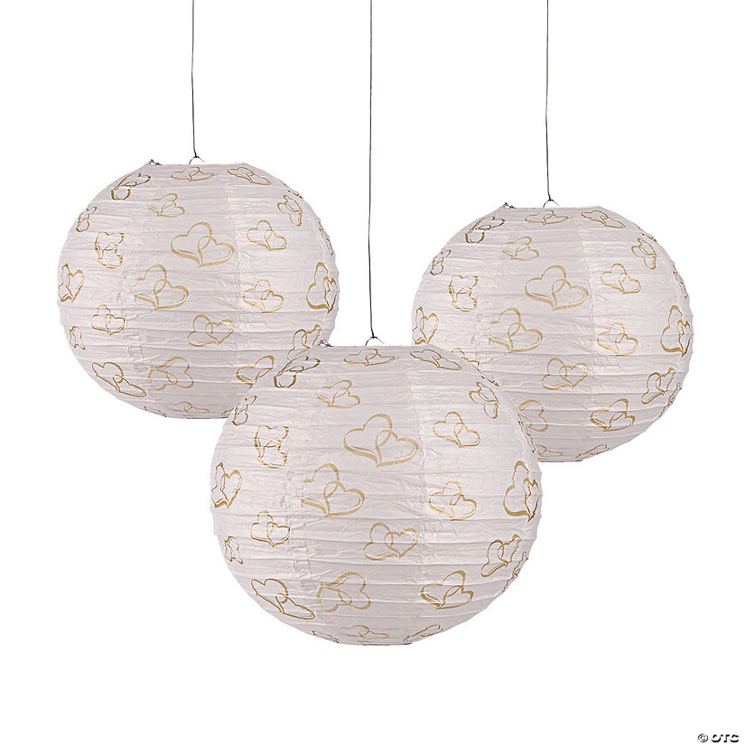 Gold Two Hearts Hanging Paper Lanterns