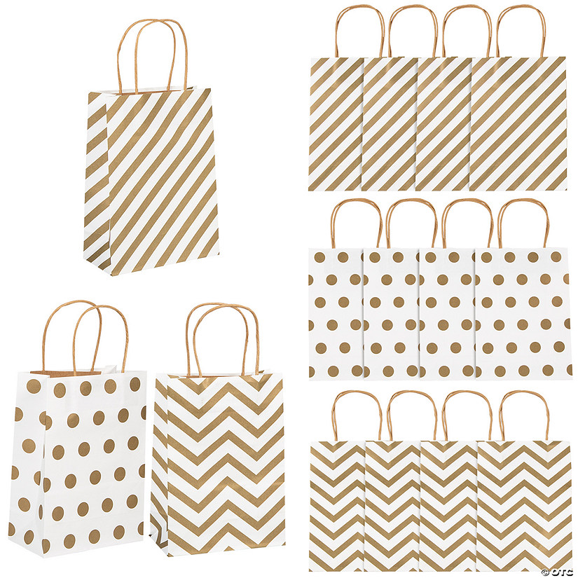 Gold Pattern Metallic Kraft Paper Bags