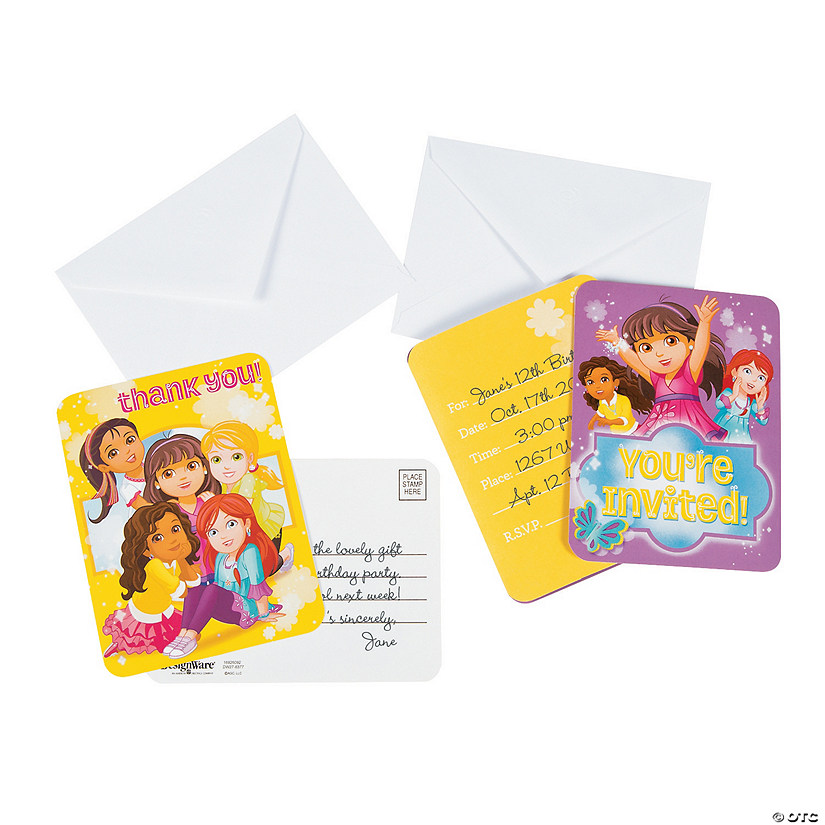 Dora Friends Invitations Thank You Cards