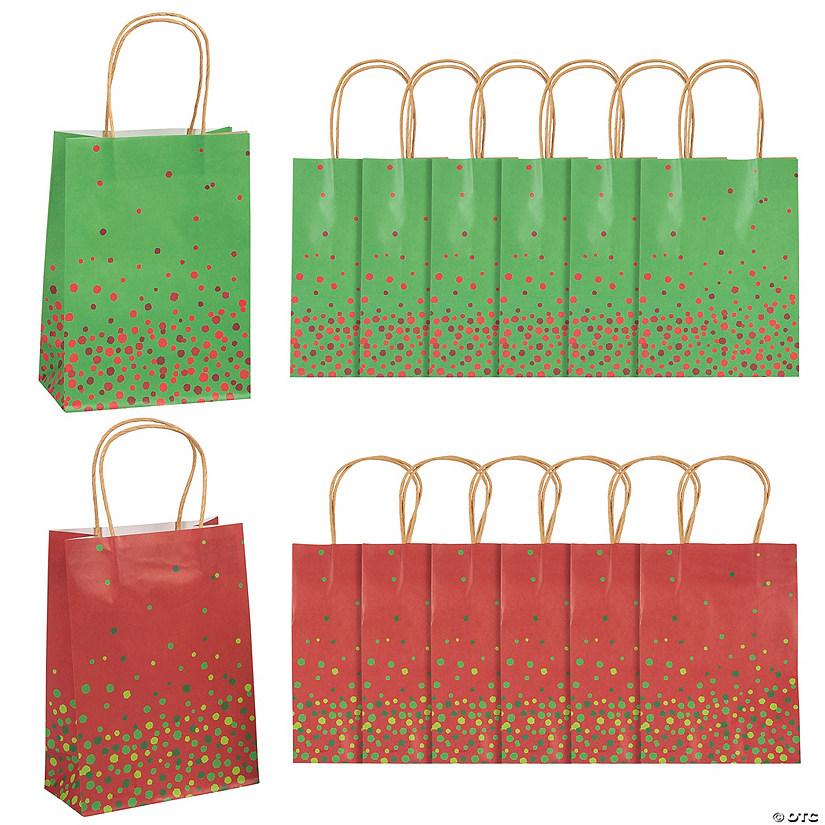 Christmas Gift Bags Bulk.Medium Christmas Sprinkle Kraft Paper Gift Bags